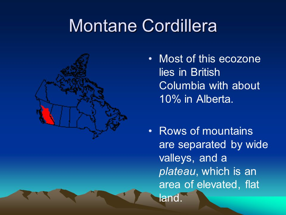 Montane Cordillera Most of this ecozone lies in British Columbia with about 10% in Alberta.