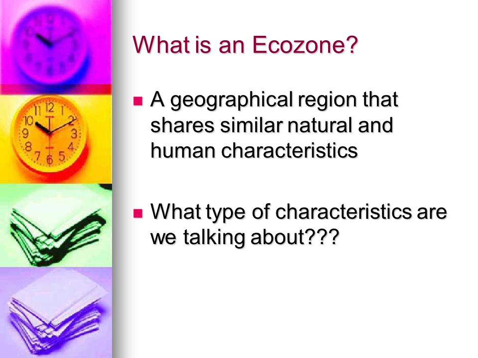 What is an Ecozone A geographical region that shares similar natural and human characteristics.