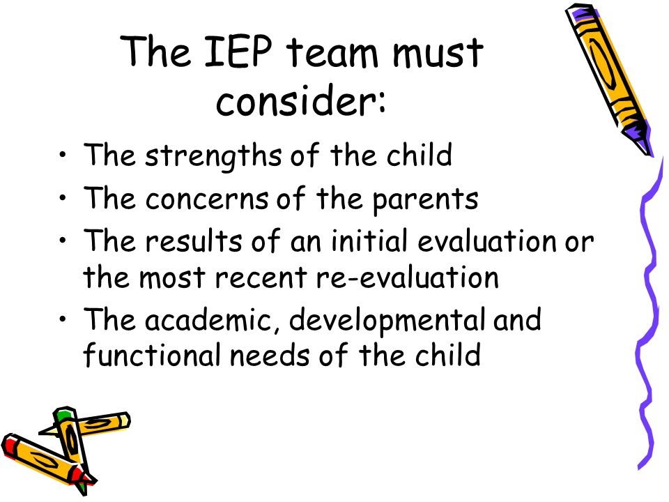 The IEP team must consider: