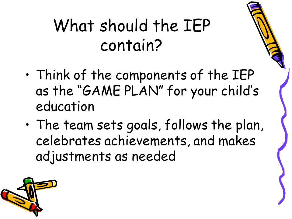 What should the IEP contain