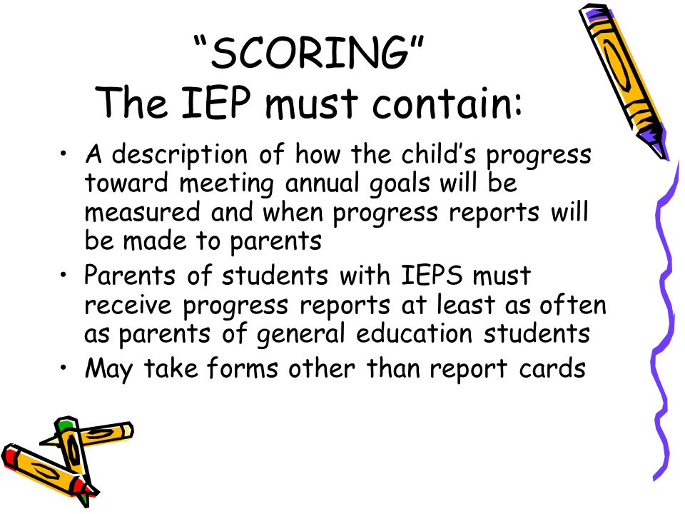 SCORING The IEP must contain: