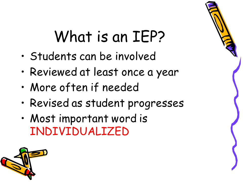 What is an IEP Students can be involved Reviewed at least once a year