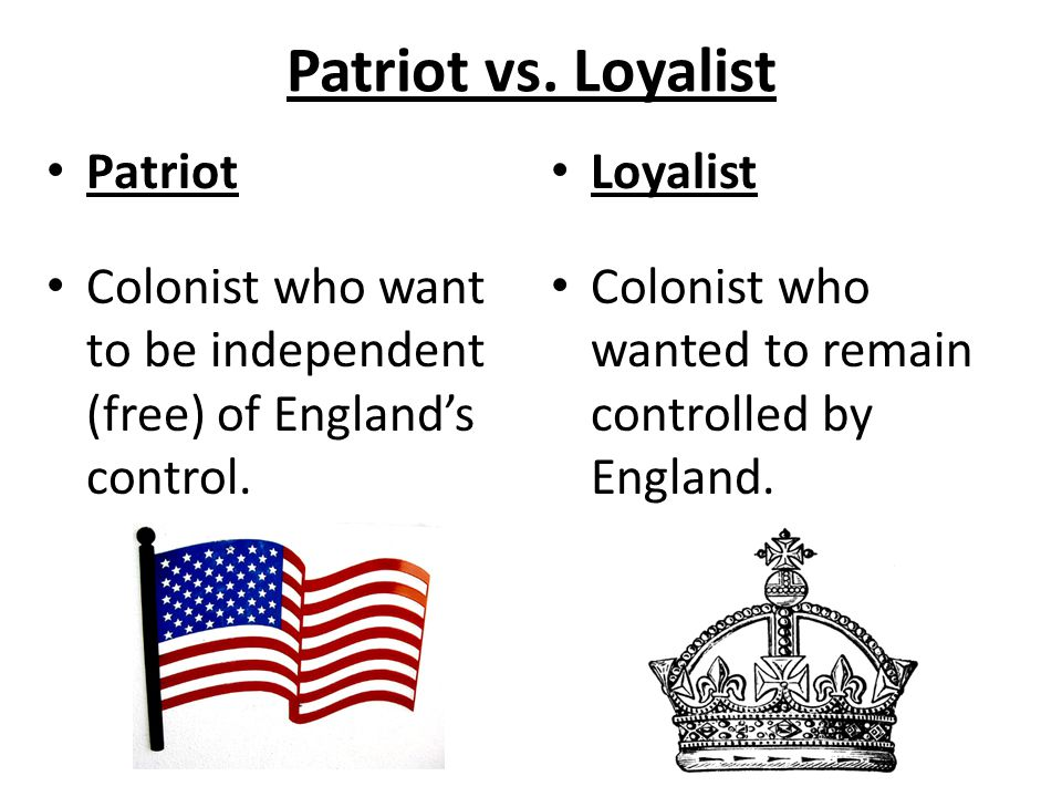 Patriot vs. Loyalist Patriot
