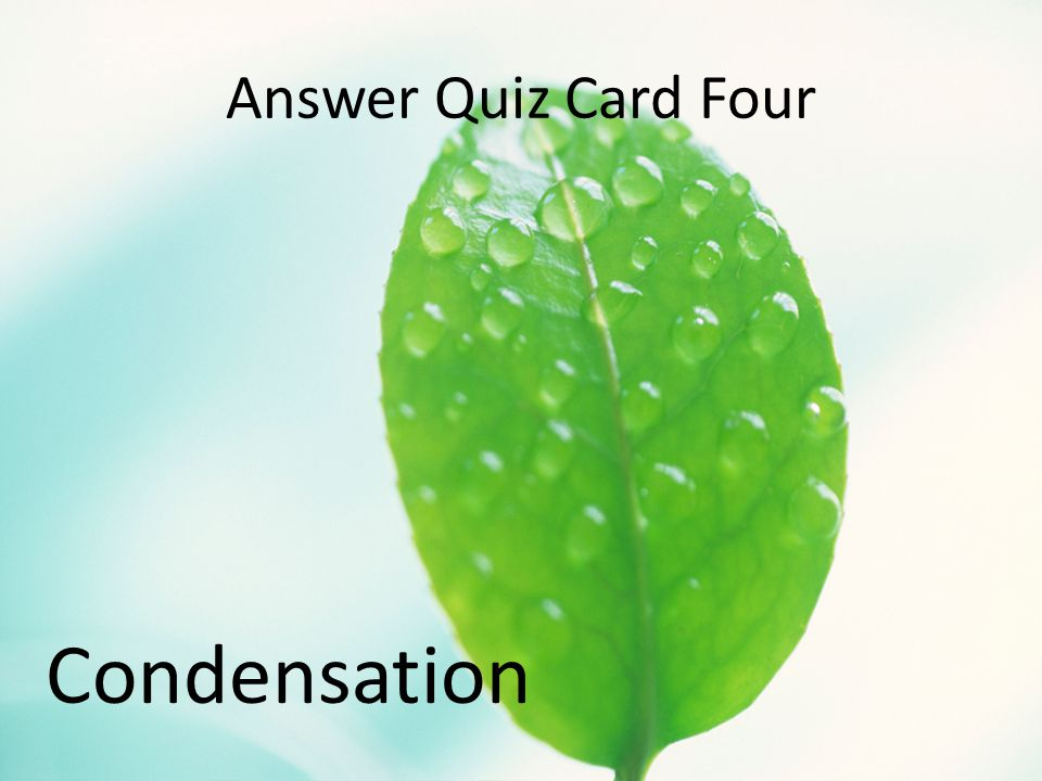 Answer Quiz Card Four Condensation