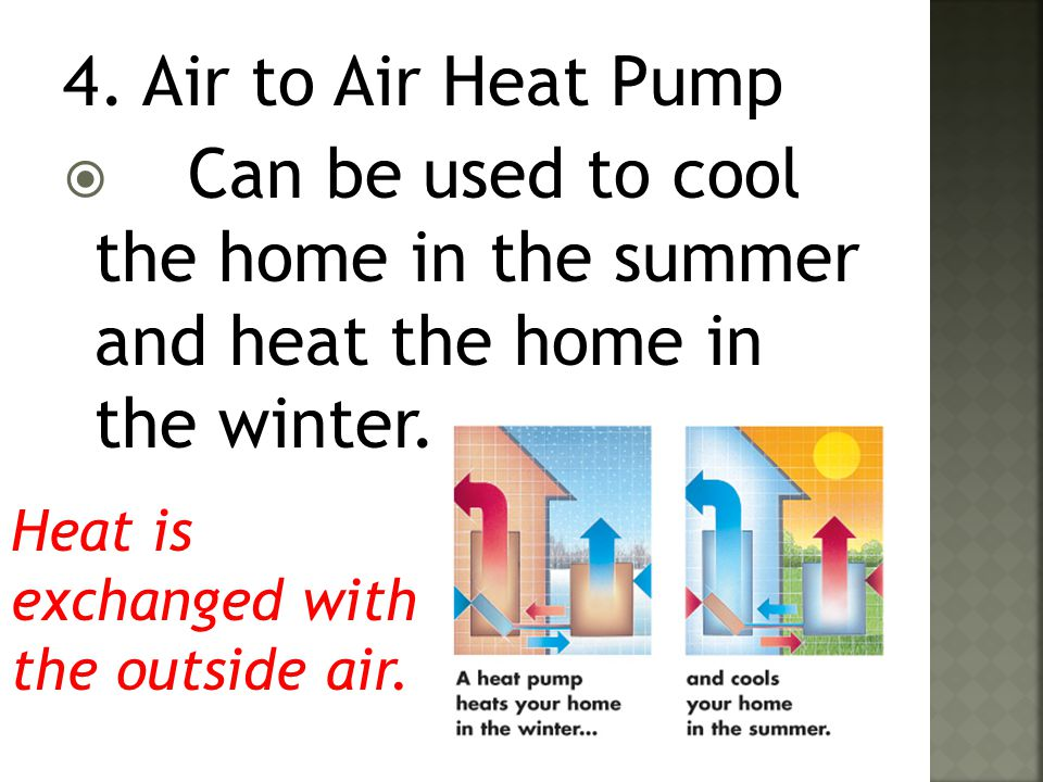 4. Air to Air Heat Pump Can be used to cool the home in the summer and heat the home in the winter.