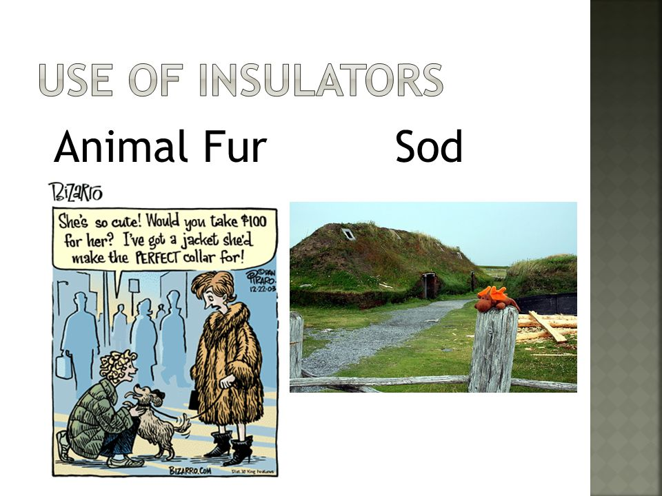 Use of insulators Animal Fur Sod