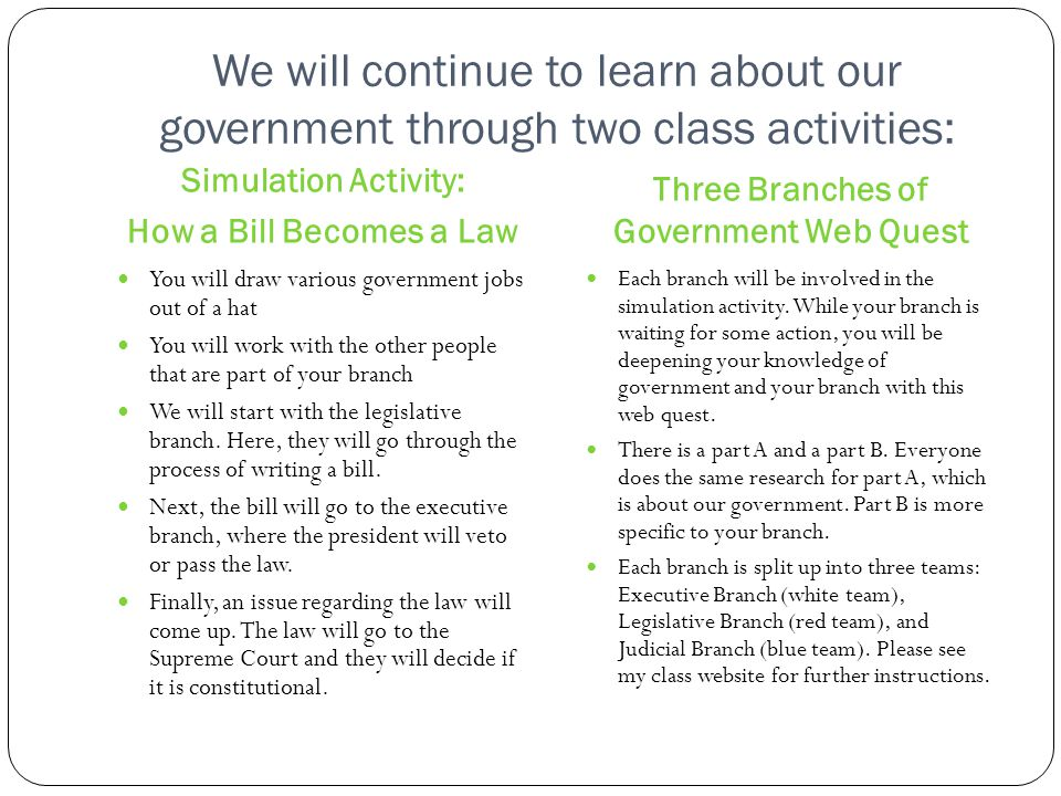 Three Branches of Government Web Quest