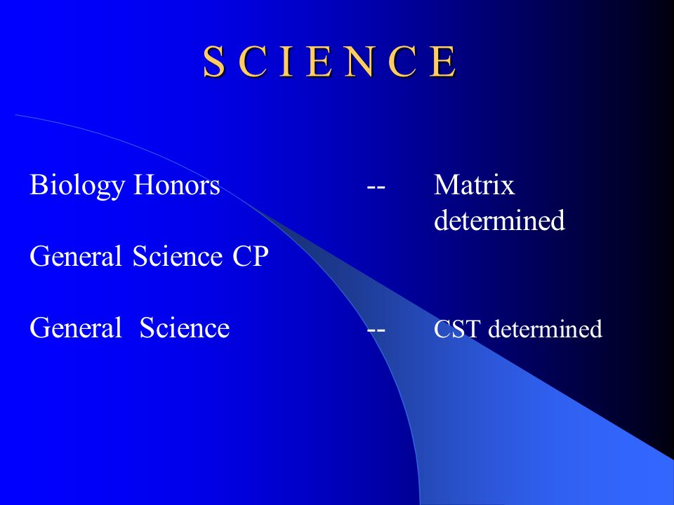 S C I E N C E Biology Honors -- Matrix determined General Science CP