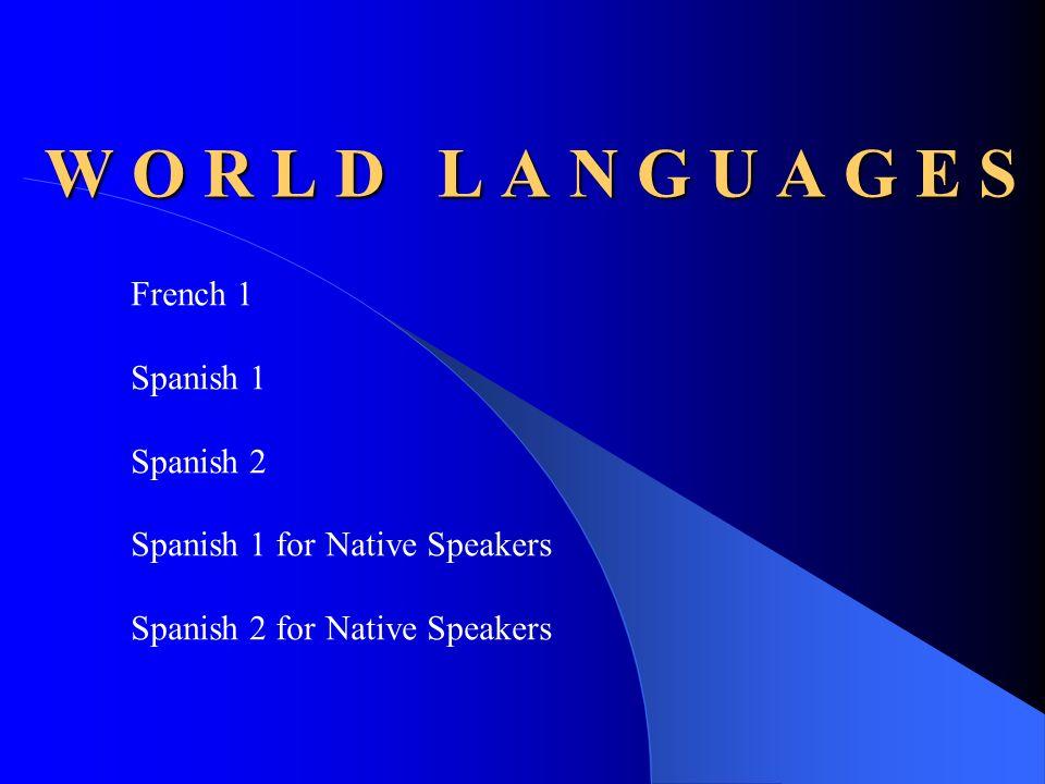 W O R L D L A N G U A G E S French 1 Spanish 1 Spanish 2