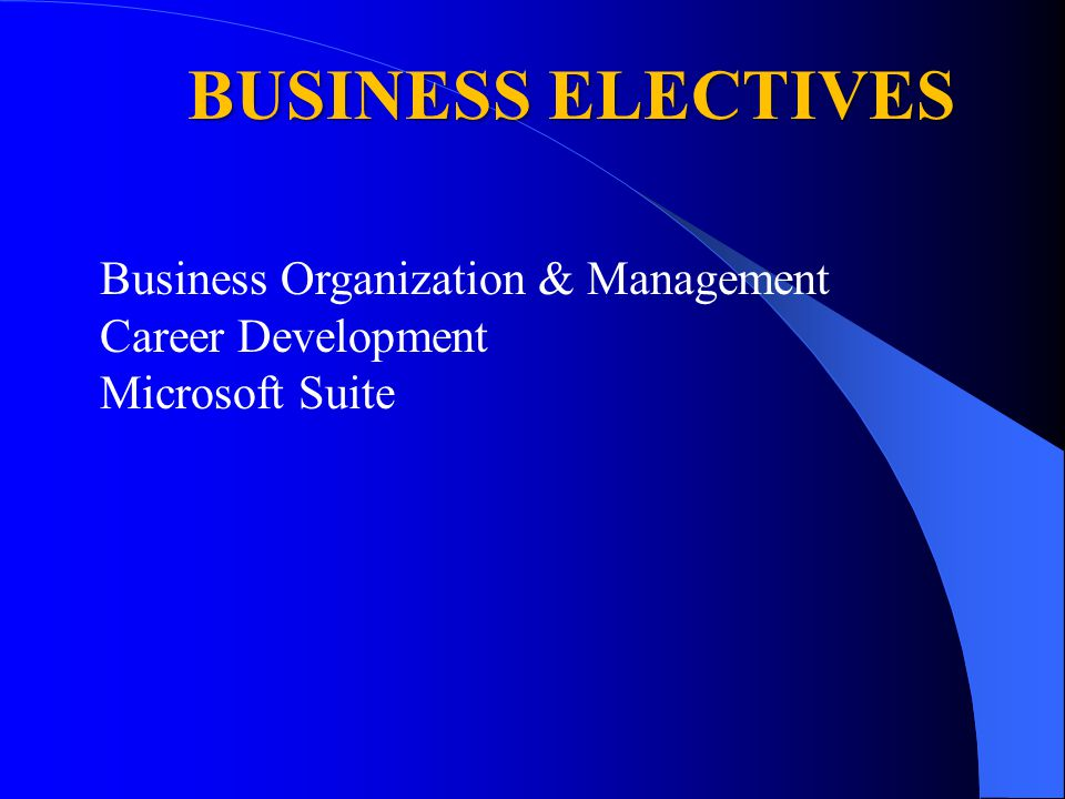 BUSINESS ELECTIVES Business Organization & Management