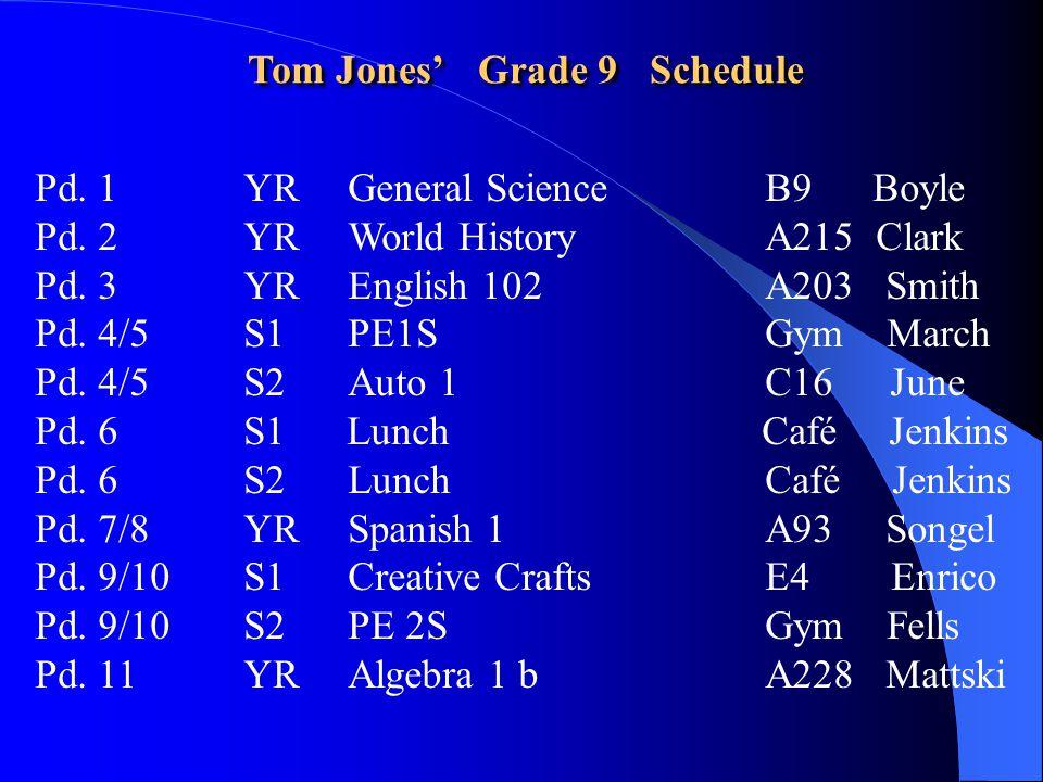 Tom Jones' Grade 9 Schedule