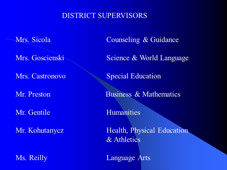 DISTRICT SUPERVISORS Mrs. Sicola Counseling & Guidance