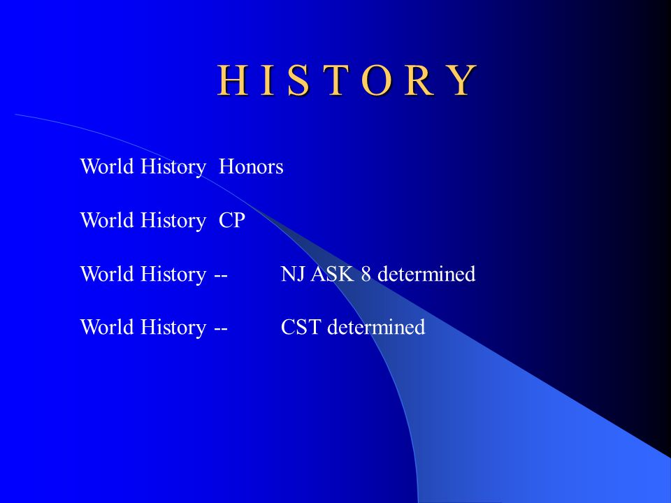 H I S T O R Y World History Honors World History CP