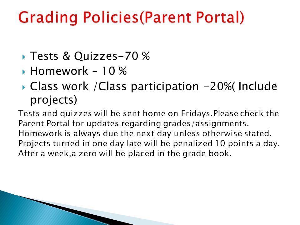 Grading Policies(Parent Portal)