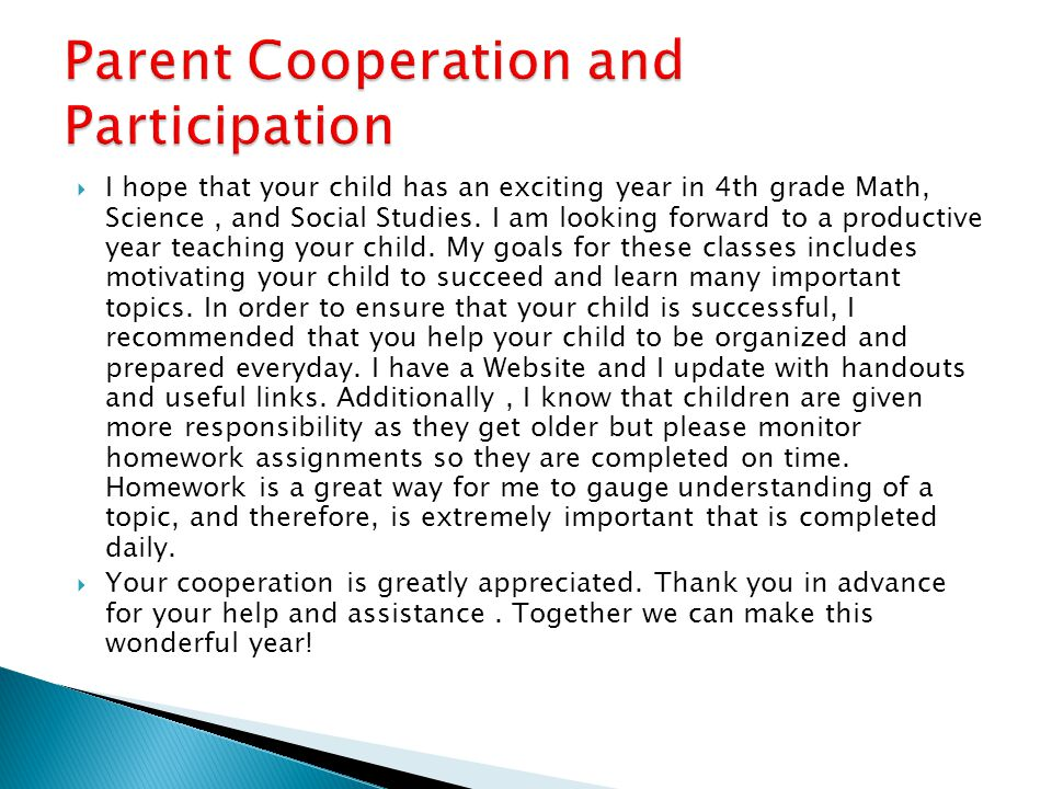 Parent Cooperation and Participation