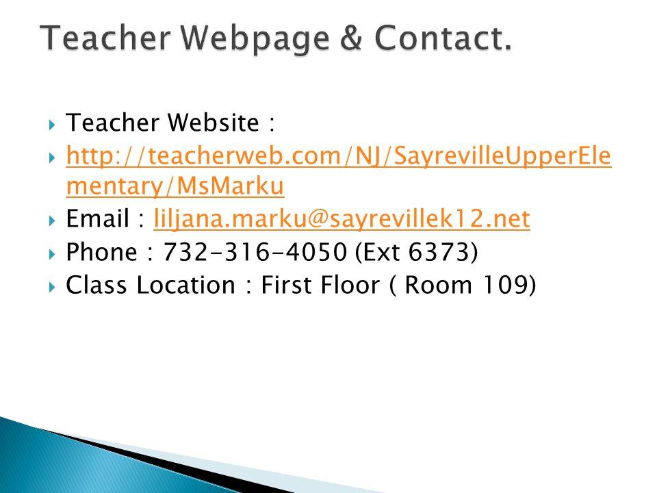 Teacher Webpage & Contact.
