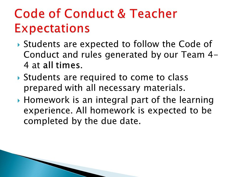 Code of Conduct & Teacher Expectations