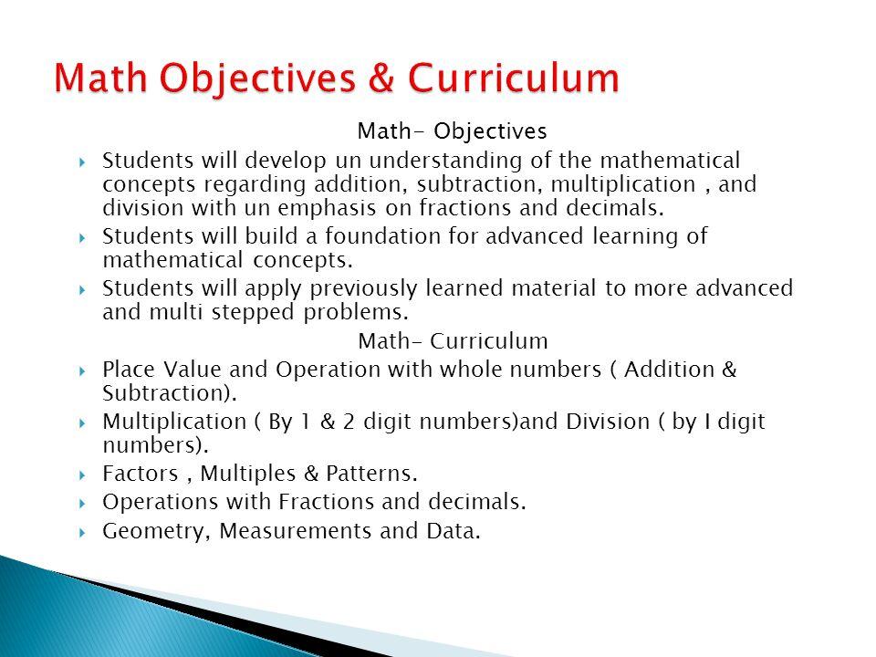 Math Objectives & Curriculum
