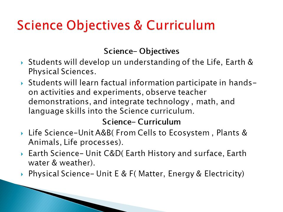 Science Objectives & Curriculum