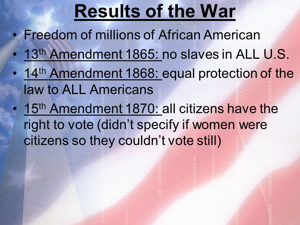 Results of the War Freedom of millions of African American
