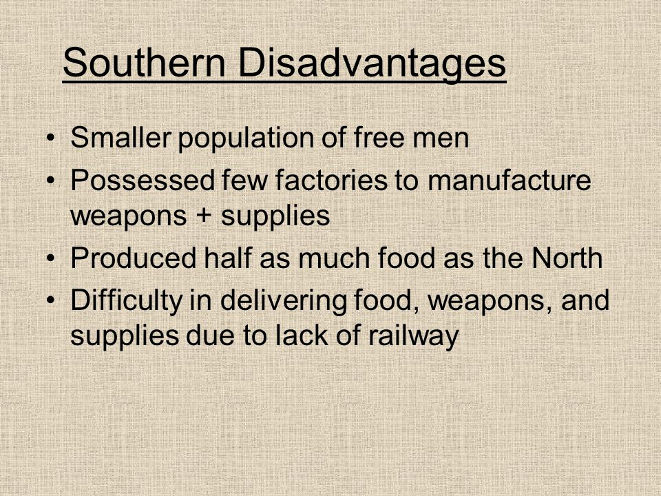 Southern Disadvantages