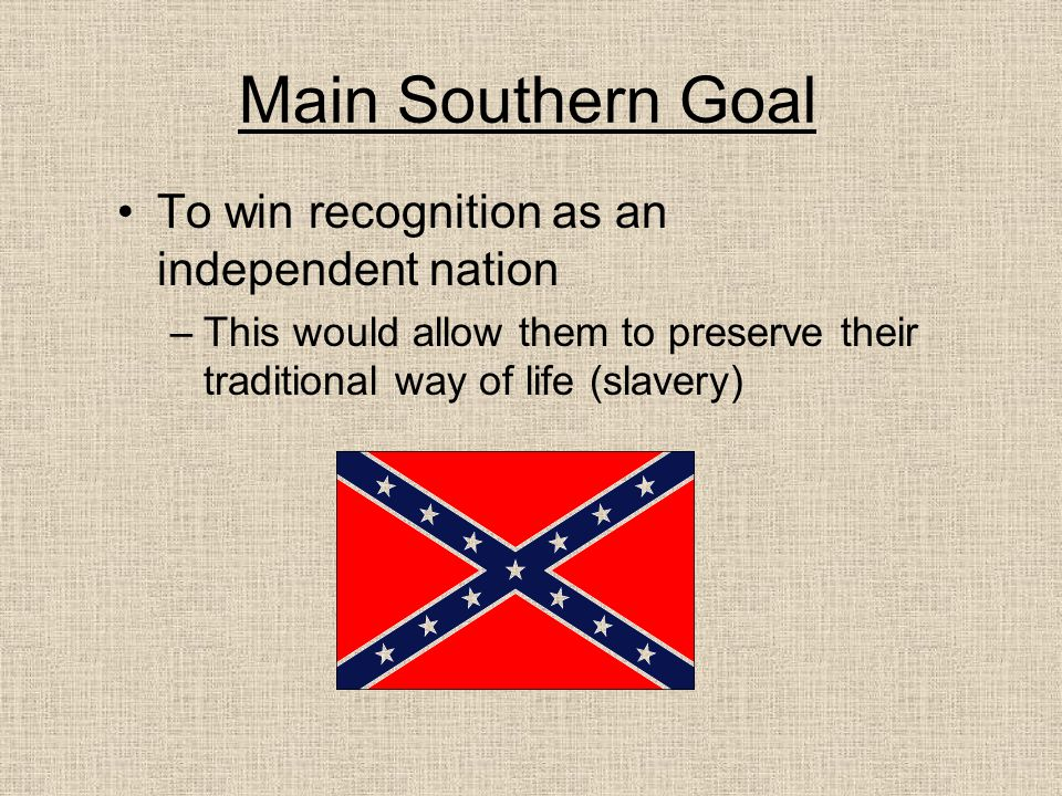 Main Southern Goal To win recognition as an independent nation
