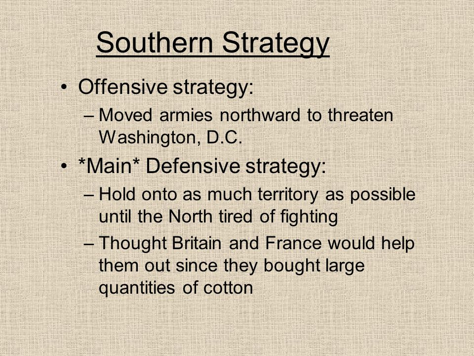 Southern Strategy Offensive strategy: *Main* Defensive strategy: