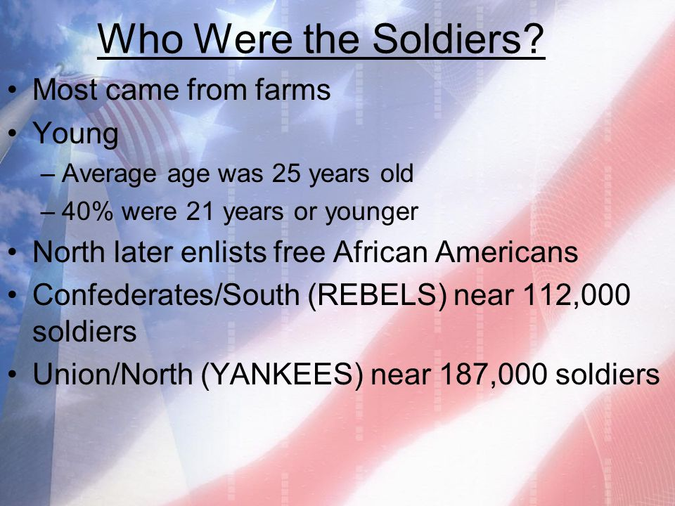 Who Were the Soldiers Most came from farms Young