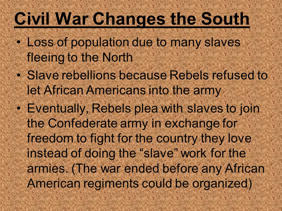Civil War Changes the South
