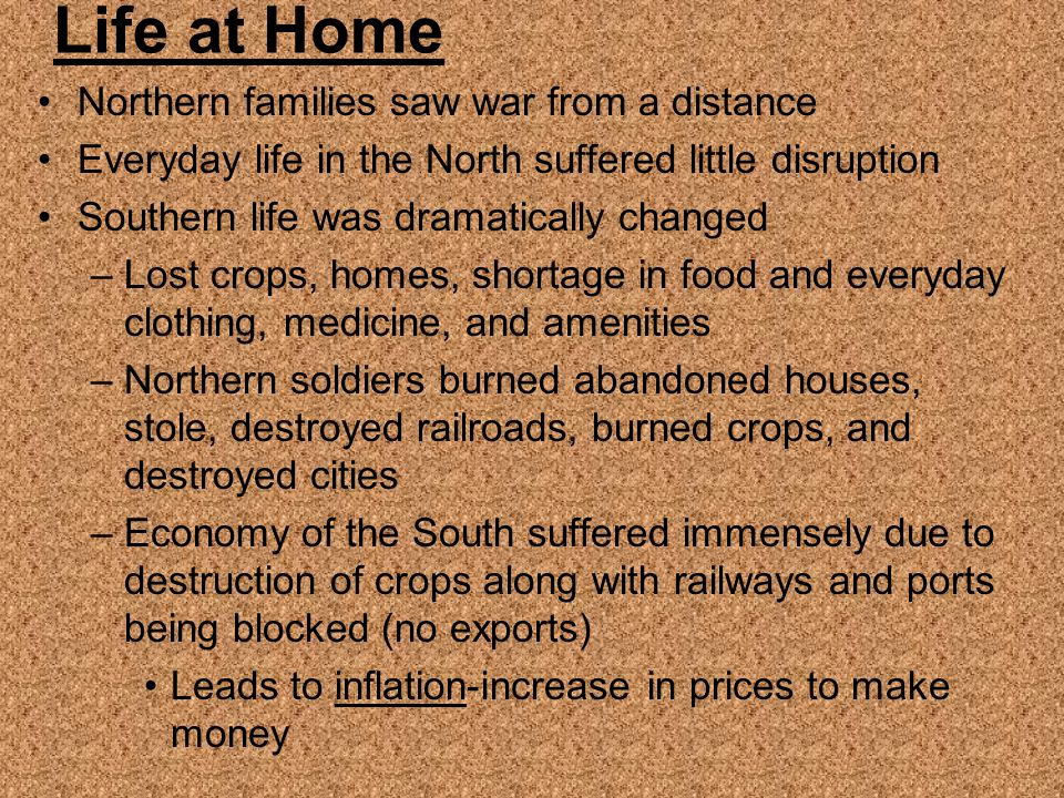 Life at Home Northern families saw war from a distance