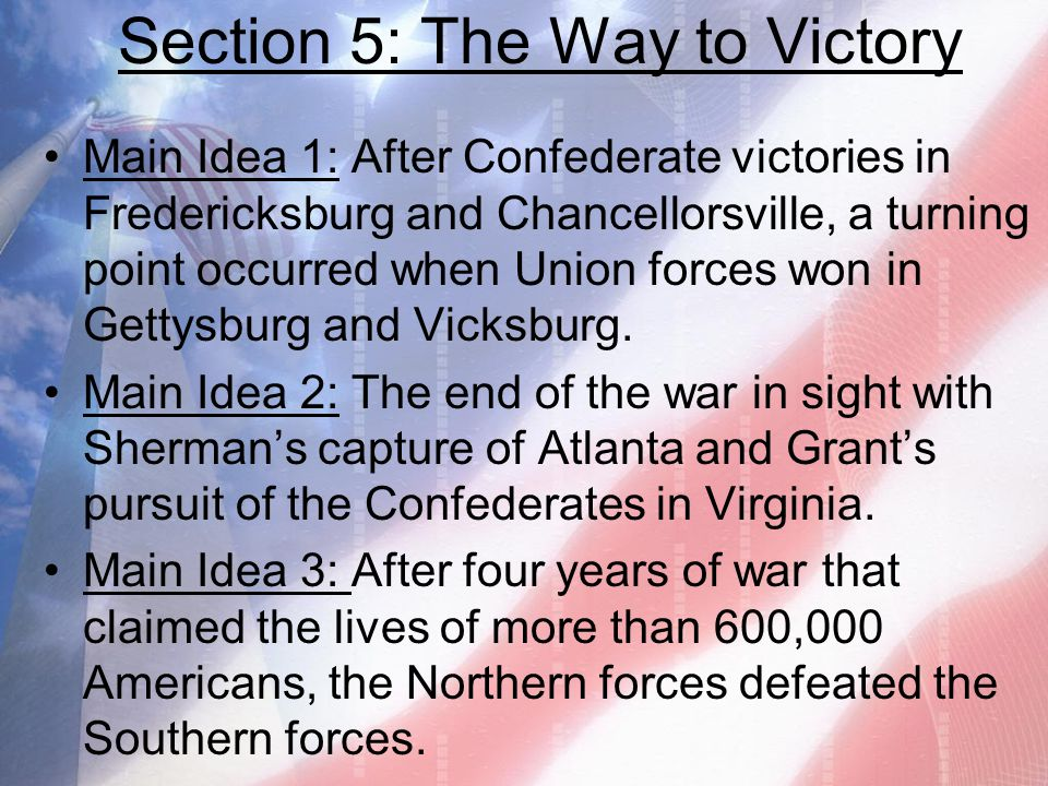 Section 5: The Way to Victory