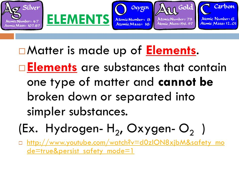 ELEMENTS Matter is made up of Elements.