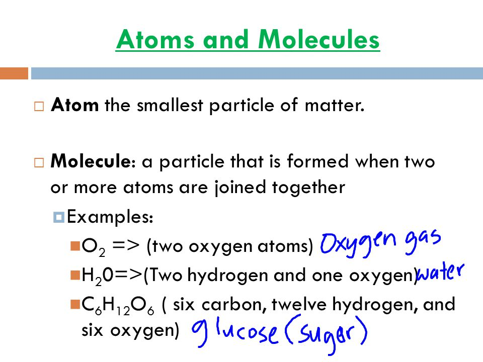 Atoms and Molecules Atom the smallest particle of matter.