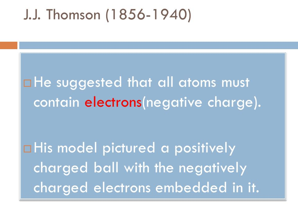 J.J. Thomson (1856-1940) He suggested that all atoms must contain electrons(negative charge).