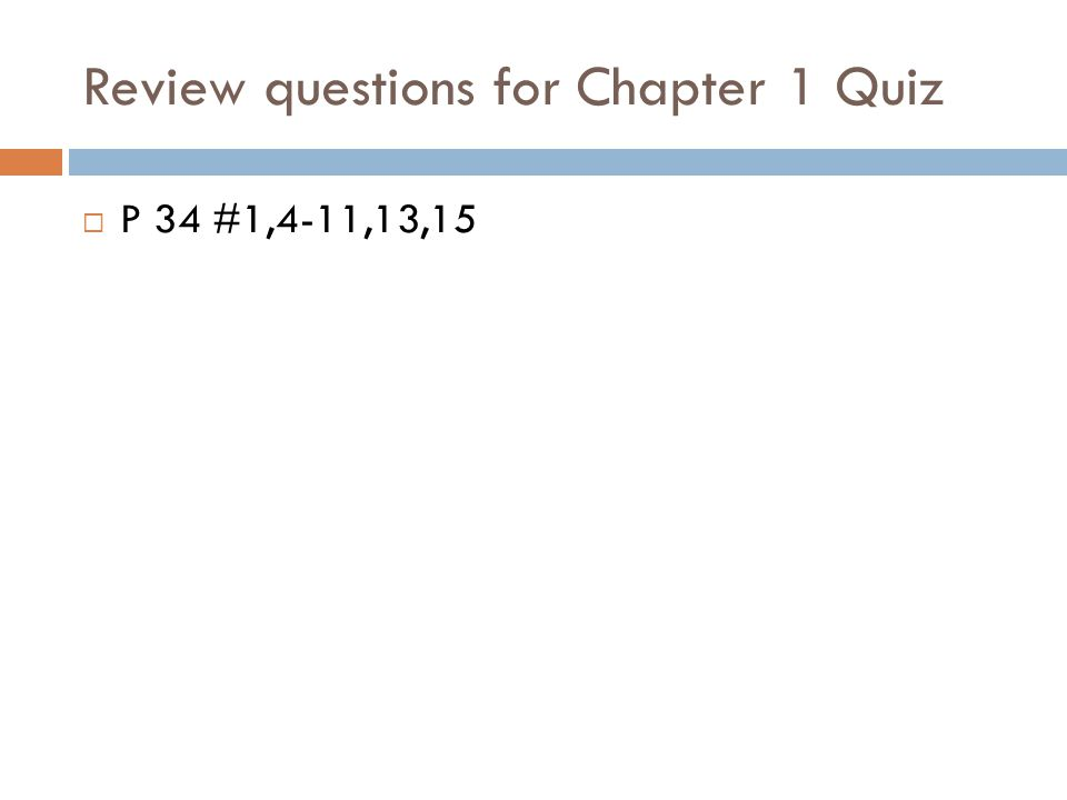 Review questions for Chapter 1 Quiz