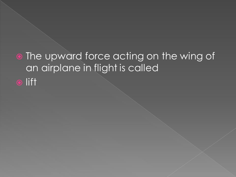 The upward force acting on the wing of an airplane in flight is called