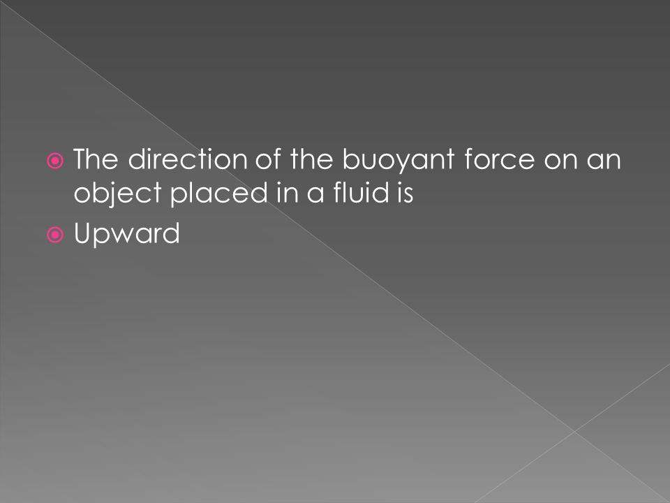 The direction of the buoyant force on an object placed in a fluid is
