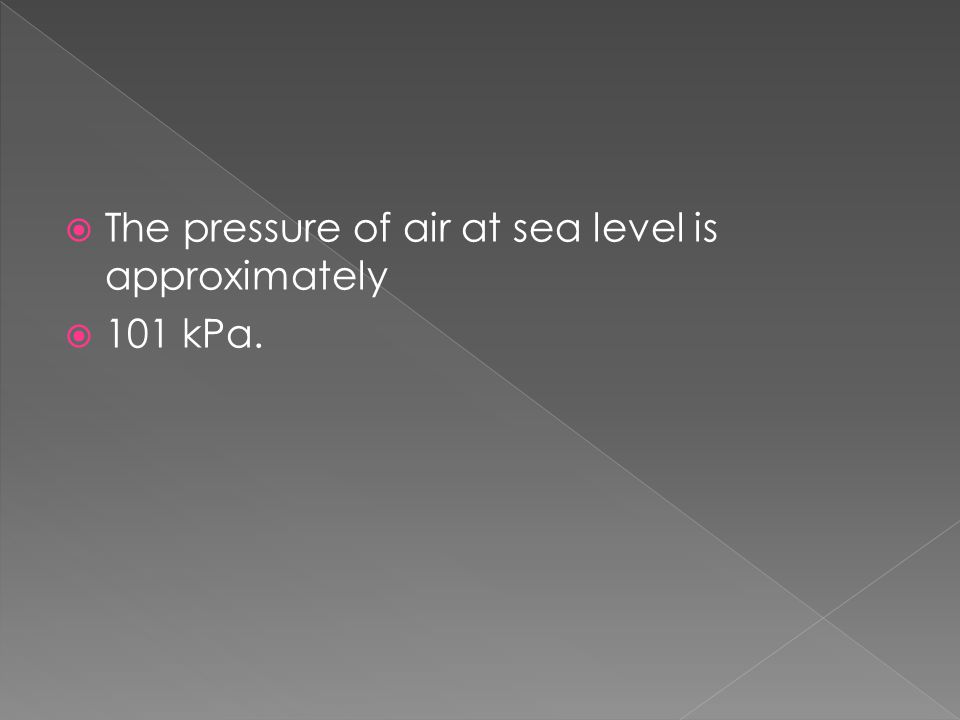 The pressure of air at sea level is approximately