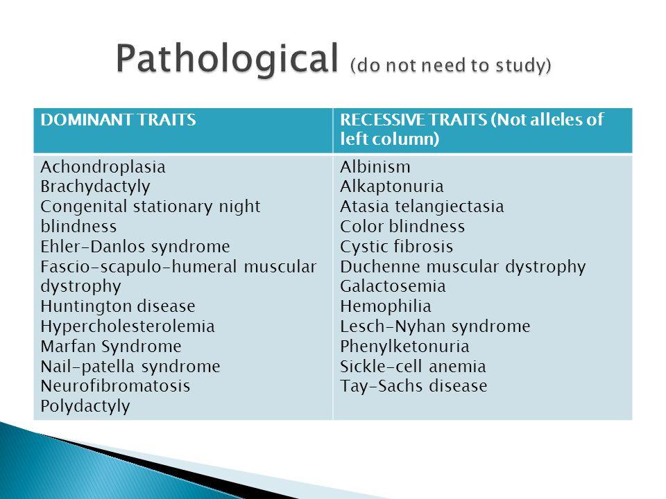 Pathological (do not need to study)