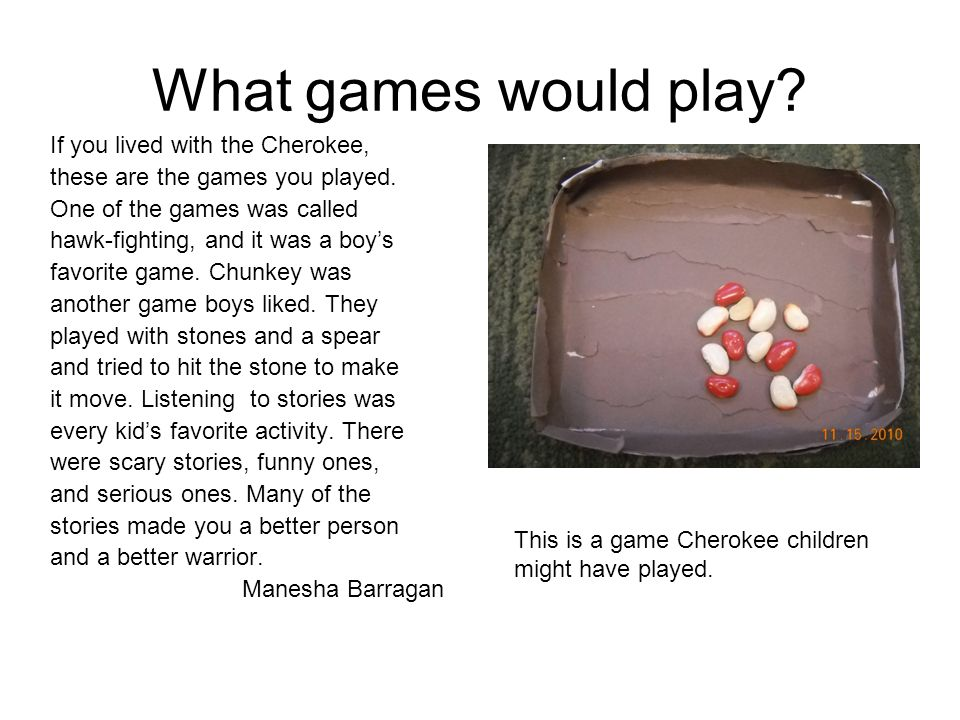 What games would play If you lived with the Cherokee,