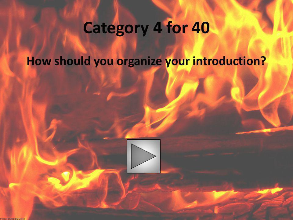How should you organize your introduction