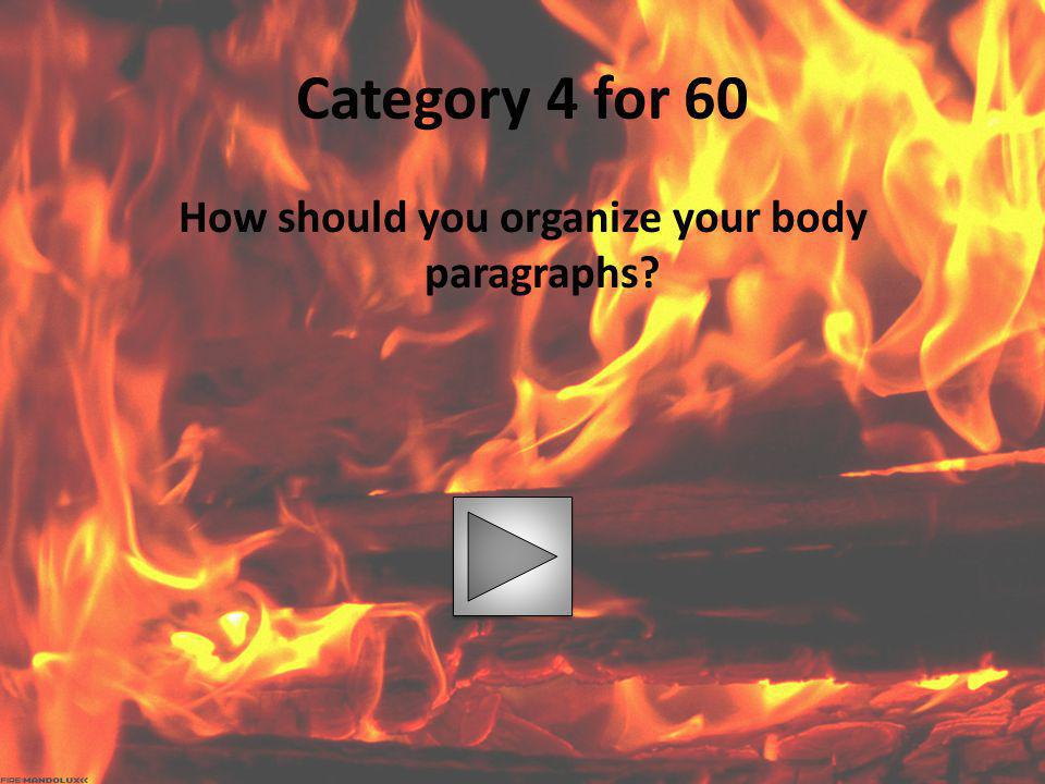 How should you organize your body paragraphs