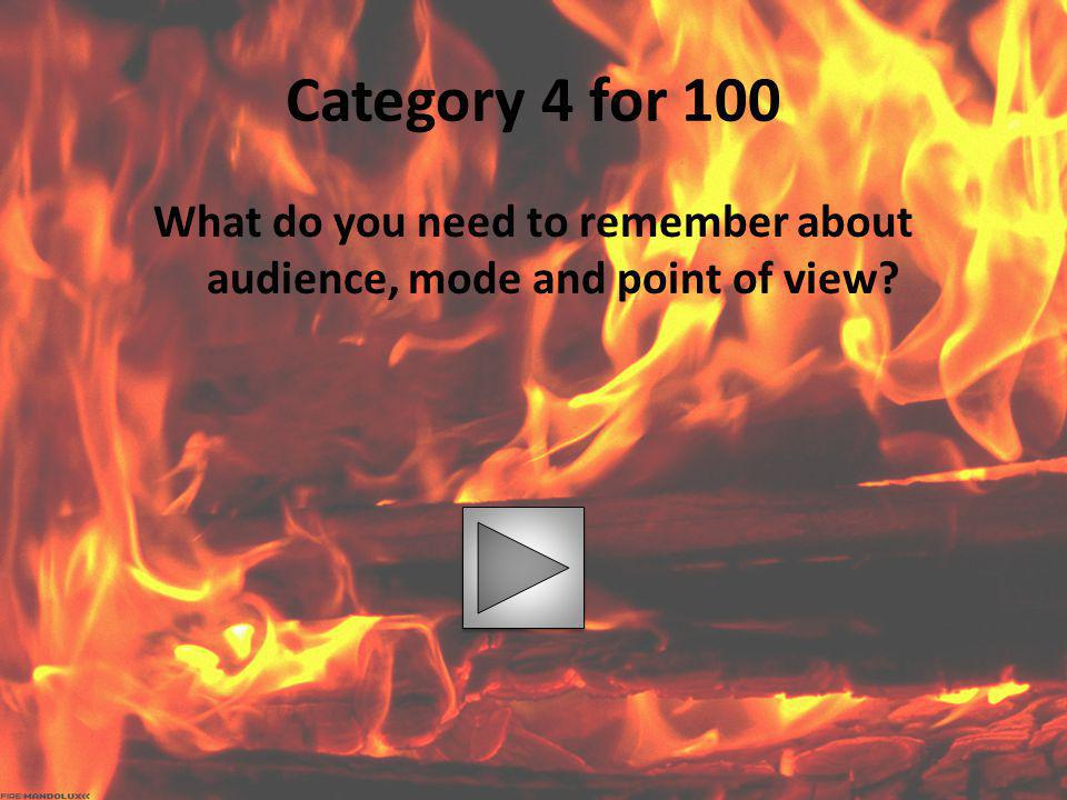 What do you need to remember about audience, mode and point of view