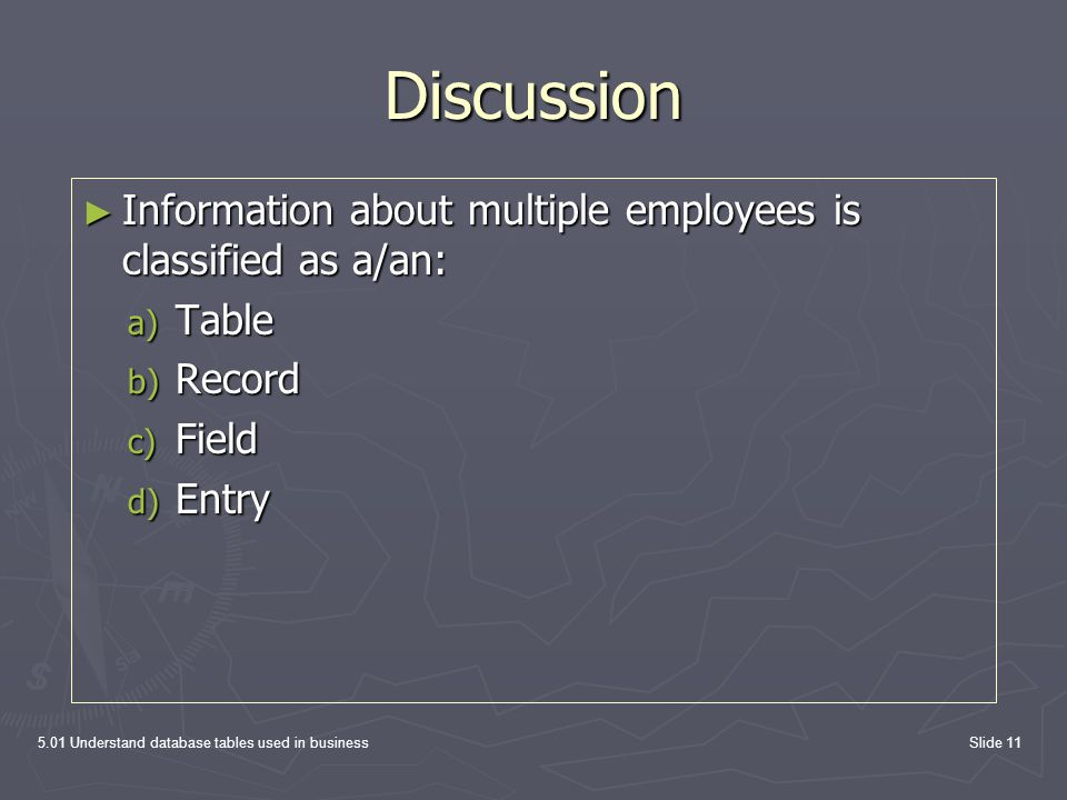 Discussion Information about multiple employees is classified as a/an: