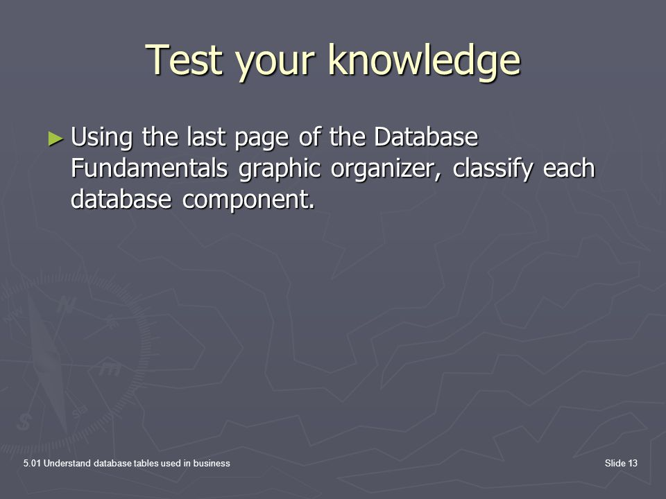 Test your knowledge Using the last page of the Database Fundamentals graphic organizer, classify each database component.