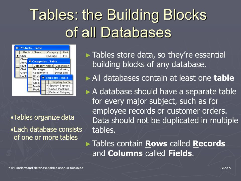 Tables: the Building Blocks of all Databases