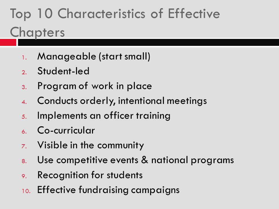Top 10 Characteristics of Effective Chapters
