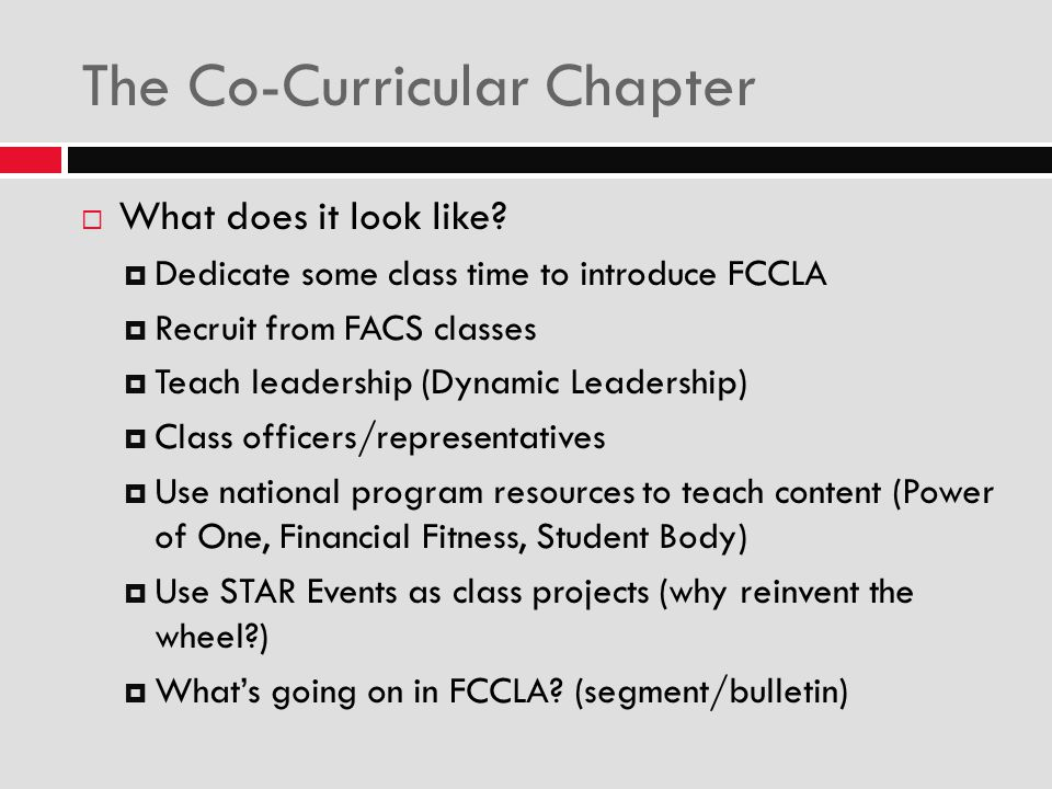 The Co-Curricular Chapter