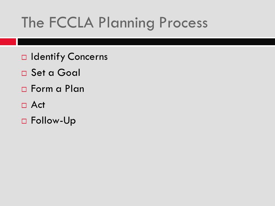 The FCCLA Planning Process