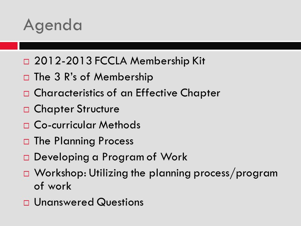 Agenda 2012-2013 FCCLA Membership Kit The 3 R's of Membership